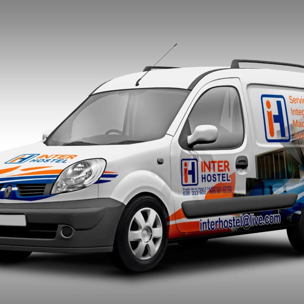Diseño y rotulación de furgoneta para la empresa Interhostel en Asturias